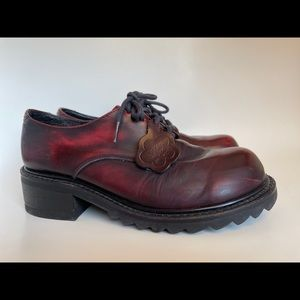 Vintage KICKERS Dark Red Leather Lace Up 8.5